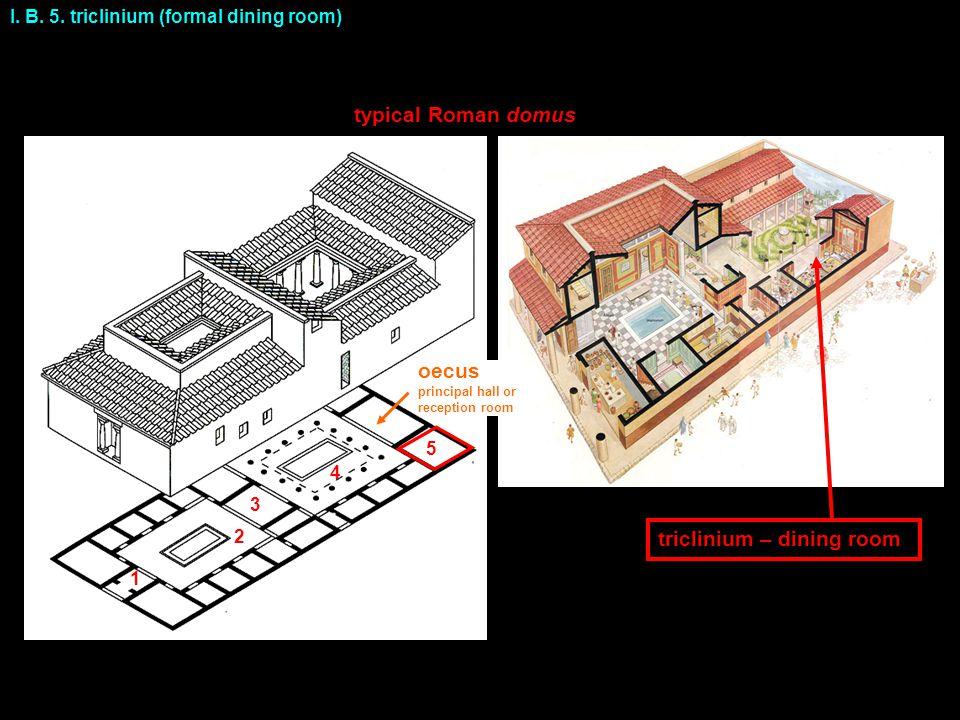 I. B. 5. triclinium (formal dining room) typical Roman domus triclinium – dining room 1 2 3 4 5 oecus principal hall or reception room