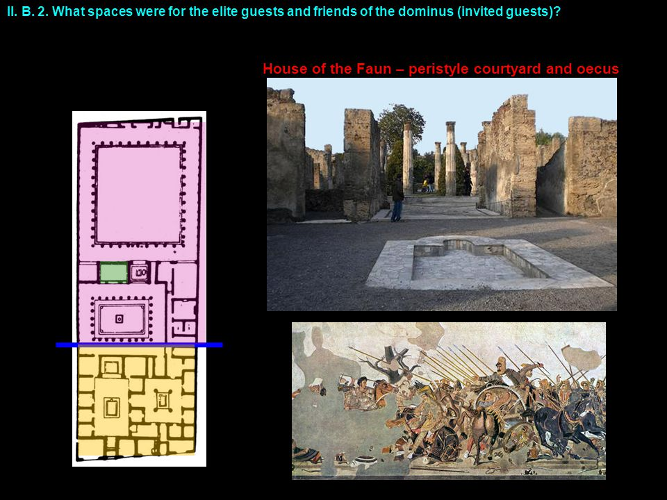 II. B. 2. What spaces were for the elite guests and friends of the dominus (invited guests)? House of the Faun – peristyle courtyard and oecus