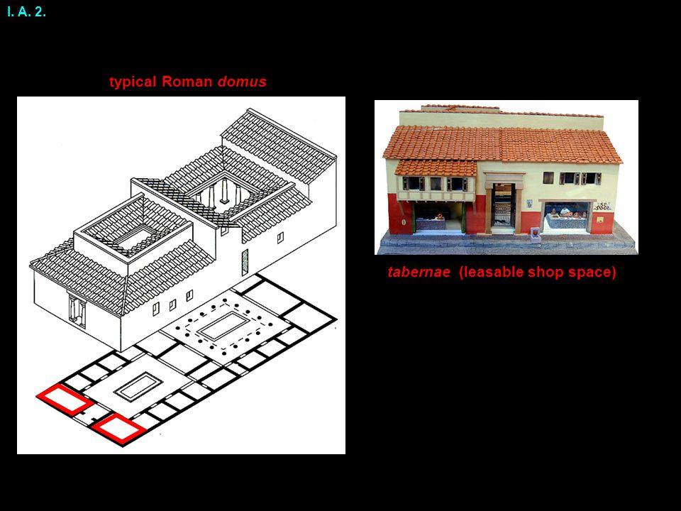 I. A. 2. typical Roman domus tabernae (leasable shop space)