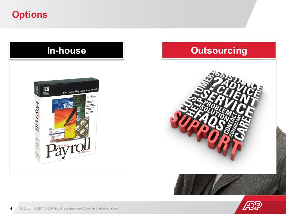 Options In-house Outsourcing © Copyright 2011 ADP, Inc. Proprietary and Confidential Information. 4