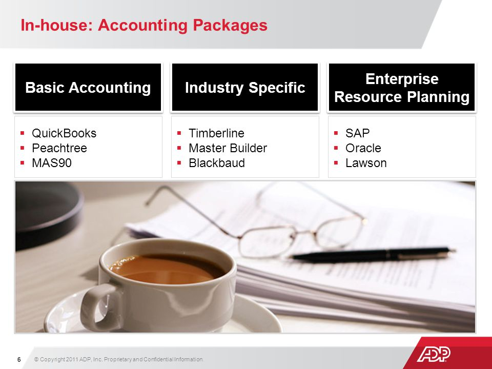 In-house: Accounting Packages Basic Accounting © Copyright 2011 ADP, Inc. Proprietary and Confidential Information. 6 Industry Specific Enterprise Res