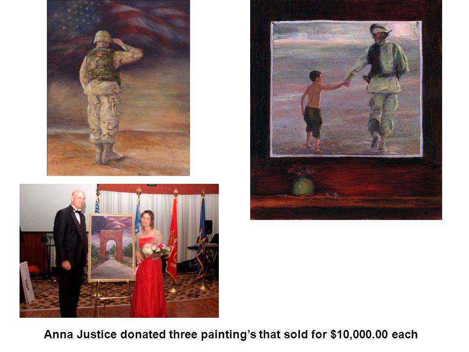 Anna Justice donated three paintings that sold for $10,000.00 each