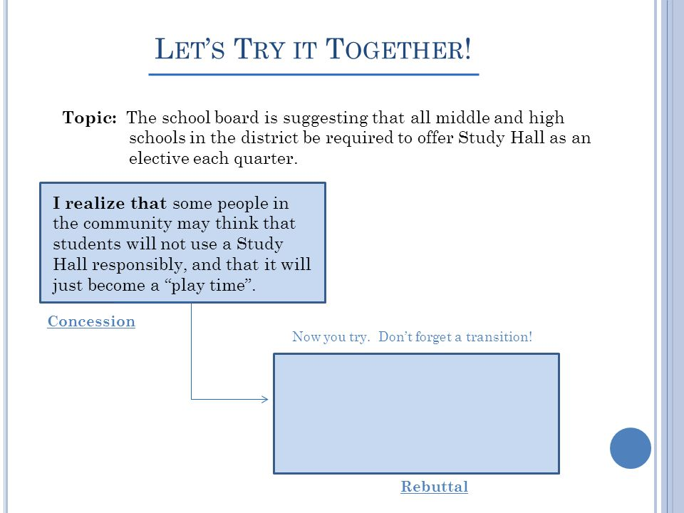 L ET S T RY IT T OGETHER ! Topic: The school board is suggesting that all middle and high schools in the district be required to offer Study Hall as a