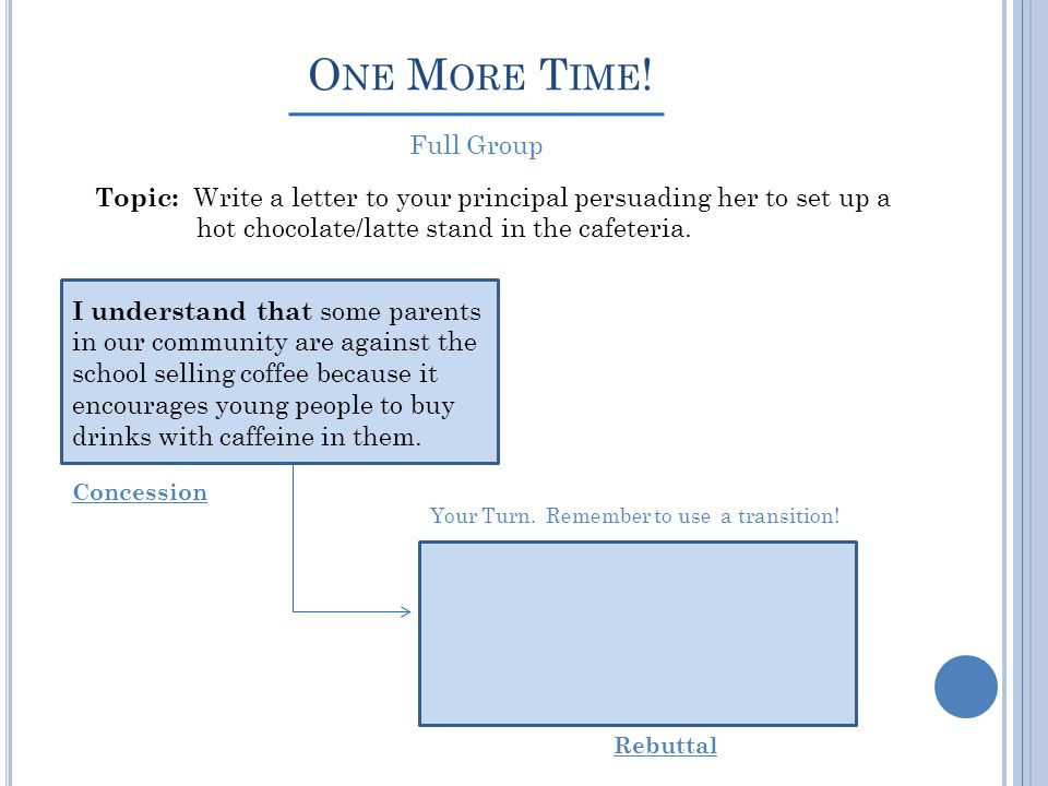 O NE M ORE T IME ! Topic: Write a letter to your principal persuading her to set up a hot chocolate/latte stand in the cafeteria. Concession Rebuttal