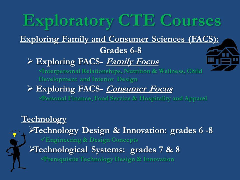 Exploratory CTE Courses Exploring Family and Consumer Sciences (FACS): Grades 6-8 Exploring FACS- Family Focus Interpersonal Relationships, Nutrition