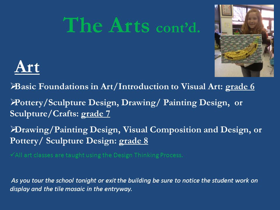 The Arts contd. Basic Foundations in Art/Introduction to Visual Art: grade 6 Pottery/Sculpture Design, Drawing/ Painting Design, or Sculpture/Crafts:
