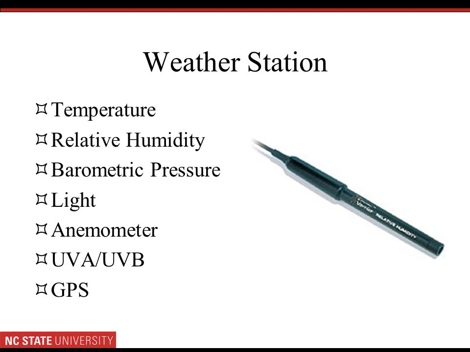 Weather Station Temperature Relative Humidity Barometric Pressure Light Anemometer UVA/UVB GPS