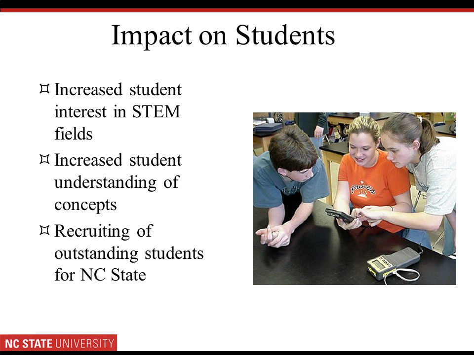 Impact on Students Increased student interest in STEM fields Increased student understanding of concepts Recruiting of outstanding students for NC Sta