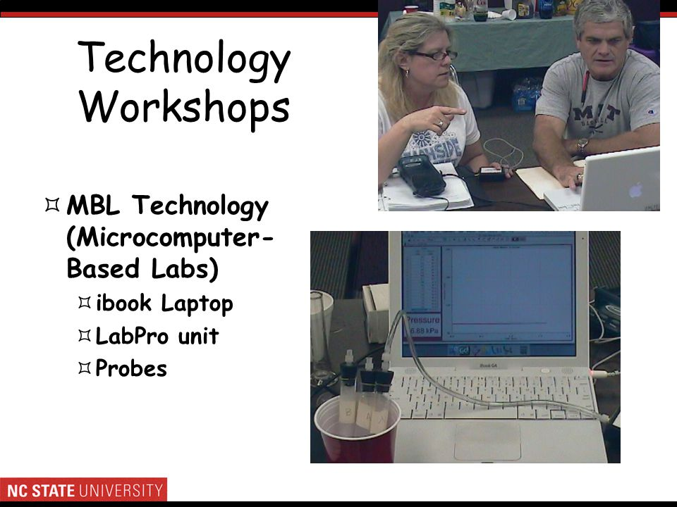 Technology Workshops MBL Technology (Microcomputer- Based Labs) ibook Laptop LabPro unit Probes