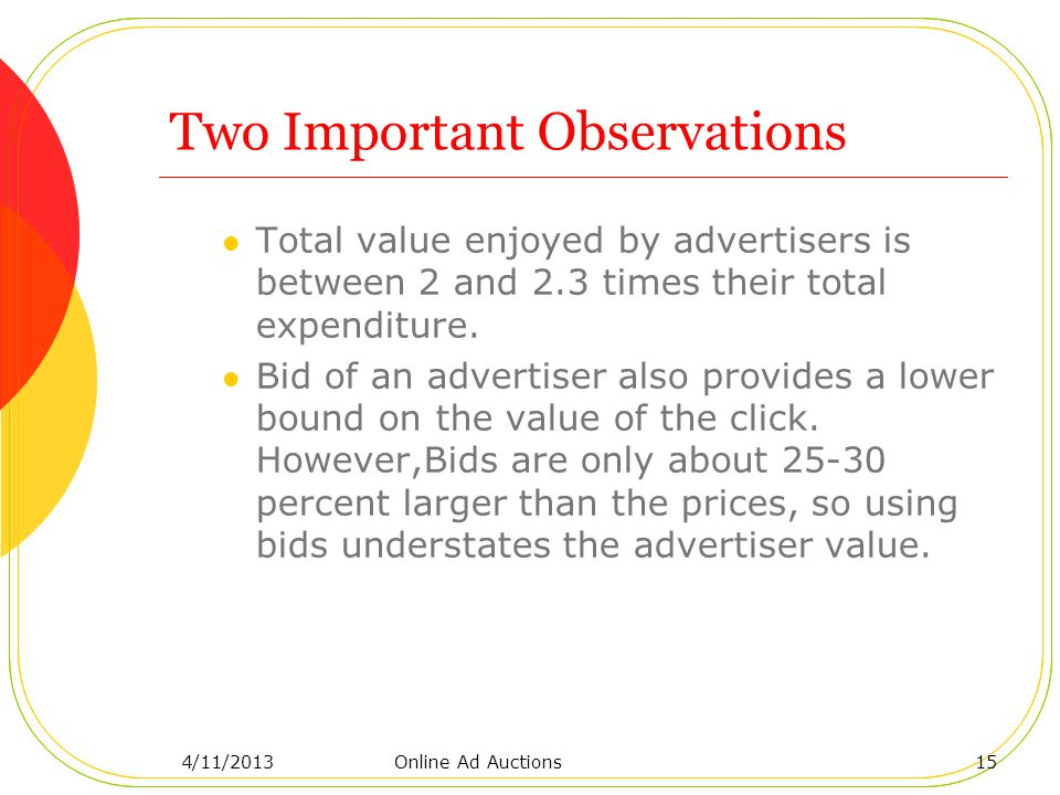 Two Important Observations Total value enjoyed by advertisers is between 2 and 2.3 times their total expenditure.