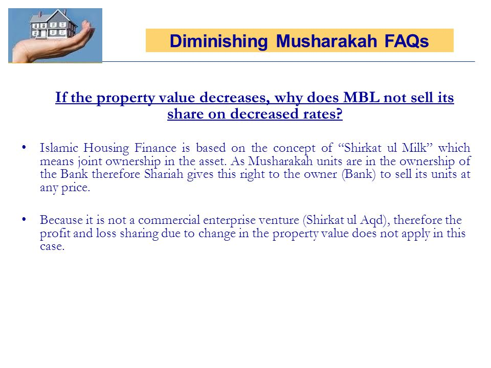 If the property value decreases, why does MBL not sell its share on decreased rates.