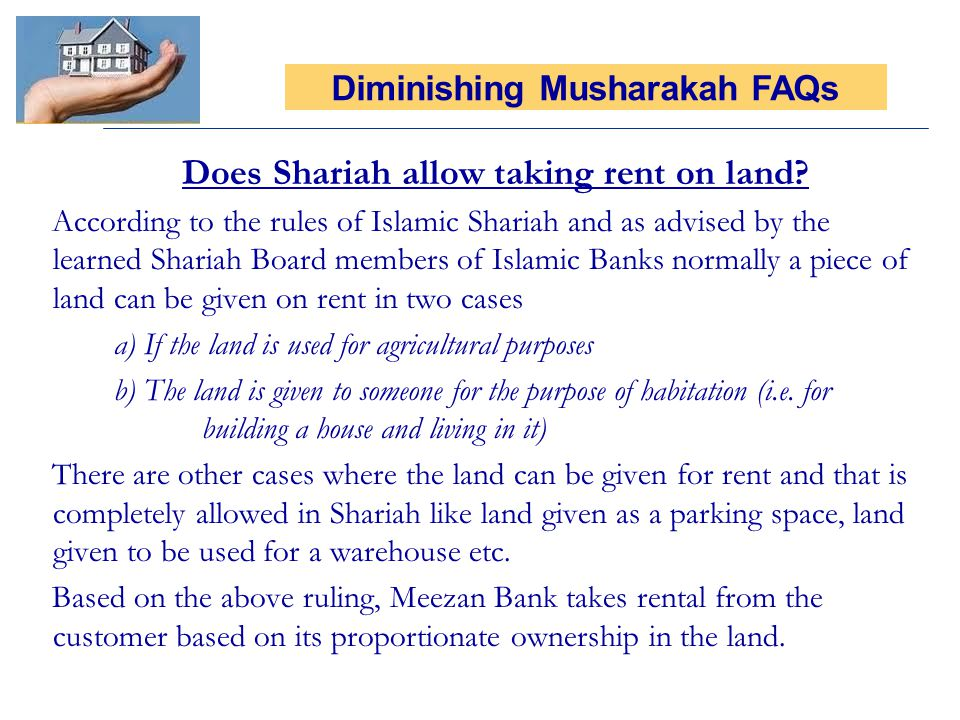 Does Shariah allow taking rent on land? According to the rules of Islamic Shariah and as advised by the learned Shariah Board members of Islamic Banks