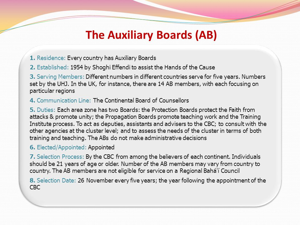 The Auxiliary Boards (AB) 1. Residence: Every country has Auxiliary Boards 2.