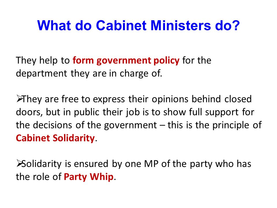 What do Cabinet Ministers do? They help to form government policy for the department they are in charge of. They are free to express their opinions be