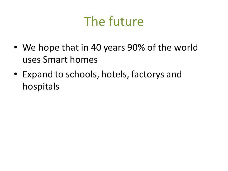 The future We hope that in 40 years 90% of the world uses Smart homes Expand to schools, hotels, factorys and hospitals