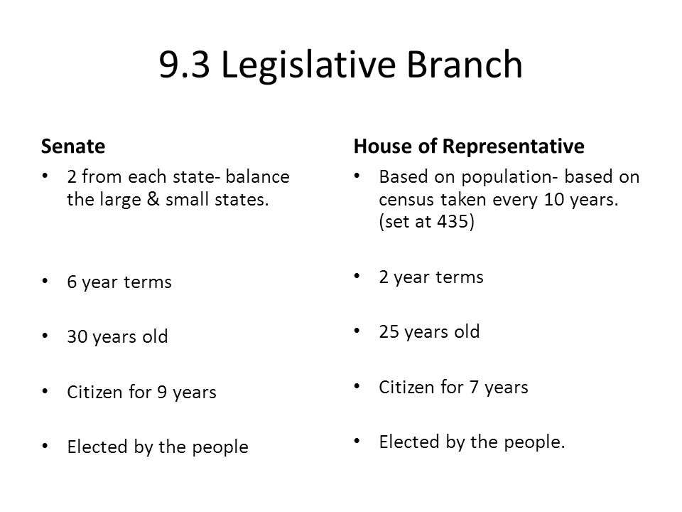 9.3 Legislative Branch Senate 2 from each state- balance the large & small states. 6 year terms 30 years old Citizen for 9 years Elected by the people