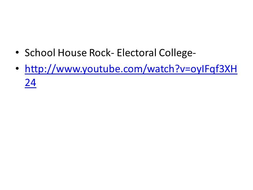 School House Rock- Electoral College- http://www.youtube.com/watch?v=oyIFqf3XH 24 http://www.youtube.com/watch?v=oyIFqf3XH 24