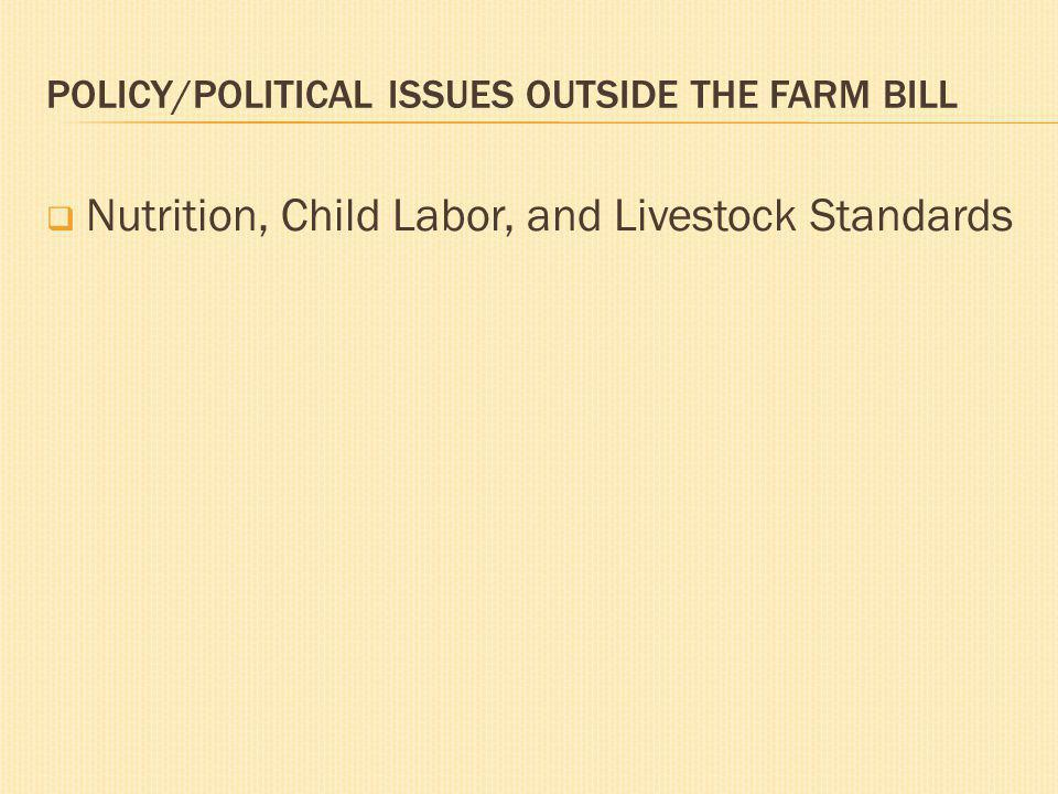 POLICY/POLITICAL ISSUES OUTSIDE THE FARM BILL Nutrition, Child Labor, and Livestock Standards