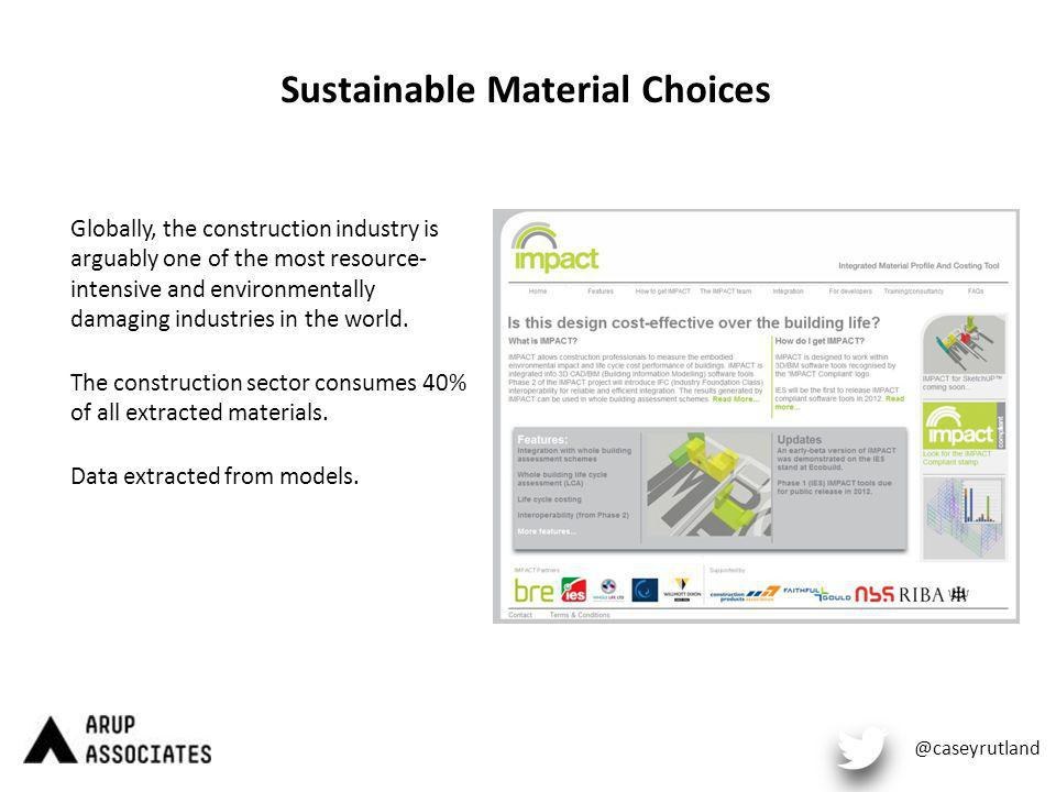 Sustainable Material Choices Globally, the construction industry is arguably one of the most resource- intensive and environmentally damaging industries in the world.