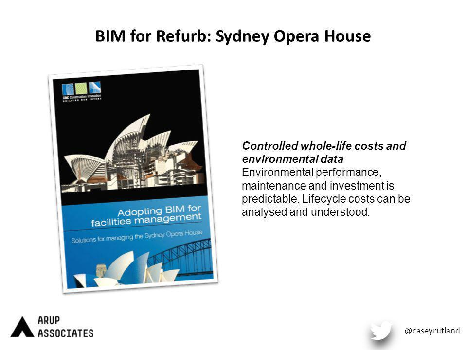 BIM for Refurb: Sydney Opera House @caseyrutland Controlled whole-life costs and environmental data Environmental performance, maintenance and investment is predictable.