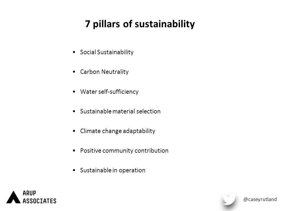 7 pillars of sustainability Social Sustainability Carbon Neutrality Water self-sufficiency Sustainable material selection Climate change adaptability Positive community contribution Sustainable in operation @caseyrutland