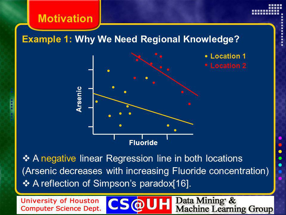 Motivation A negative linear Regression line in both locations (Arsenic decreases with increasing Fluoride concentration) A reflection of Simpsons paradox[16].