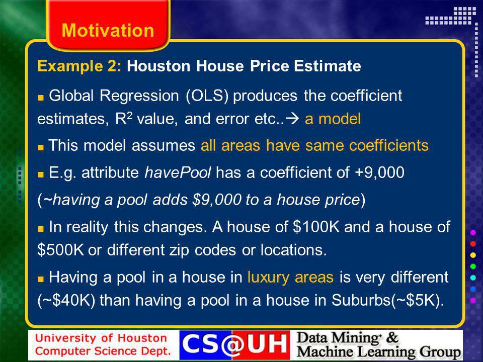 Global Regression (OLS) produces the coefficient estimates, R 2 value, and error etc..