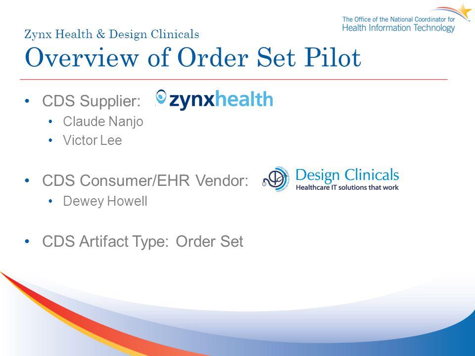 Zynx Health & Design Clinicals Overview of Order Set Pilot CDS Supplier: Zynx Health Claude Nanjo Victor Lee CDS Consumer/EHR Vendor: Design Clinicals