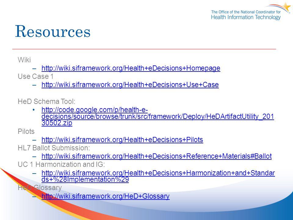 Resources Wiki –http://wiki.siframework.org/Health+eDecisions+Homepagehttp://wiki.siframework.org/Health+eDecisions+Homepage Use Case 1 –http://wiki.s
