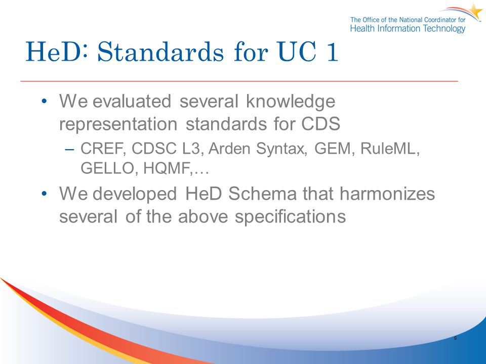 6 We evaluated several knowledge representation standards for CDS –CREF, CDSC L3, Arden Syntax, GEM, RuleML, GELLO, HQMF,… We developed HeD Schema tha