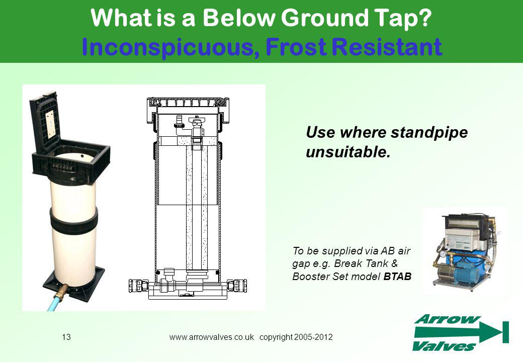 www.arrowvalves.co.uk copyright 2005-201213 What is a Below Ground Tap? Inconspicuous, Frost Resistant To be supplied via AB air gap e.g. Break Tank &