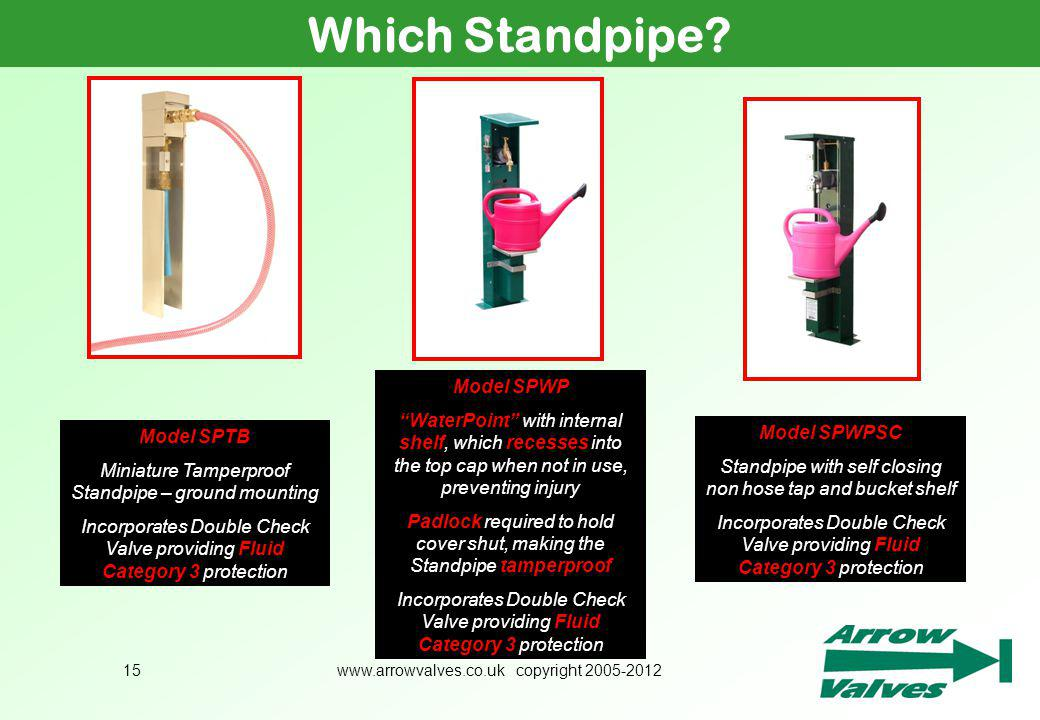 www.arrowvalves.co.uk copyright 2005-201215 Which Standpipe? Model SPWPSC Standpipe with self closing non hose tap and bucket shelf Incorporates Doubl
