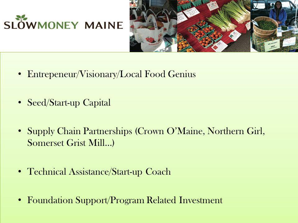 Entrepeneur/Visionary/Local Food Genius Seed/Start-up Capital Supply Chain Partnerships (Crown OMaine, Northern Girl, Somerset Grist Mill…) Technical