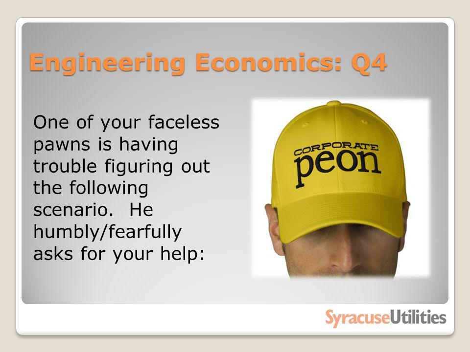 Engineering Economics: Q4 One of your faceless pawns is having trouble figuring out the following scenario. He humbly/fearfully asks for your help: