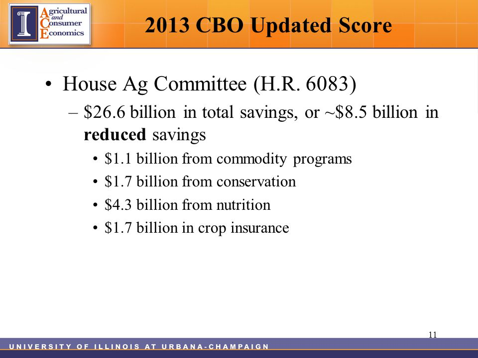2013 CBO Updated Score House Ag Committee (H.R.