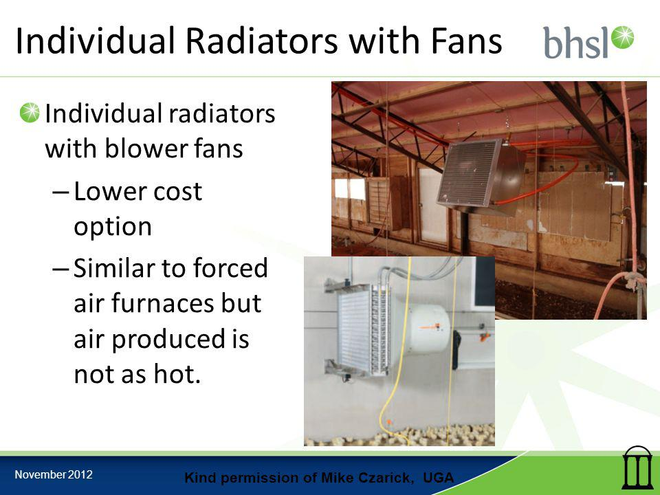 Individual Radiators with Fans Individual radiators with blower fans – Lower cost option – Similar to forced air furnaces but air produced is not as h