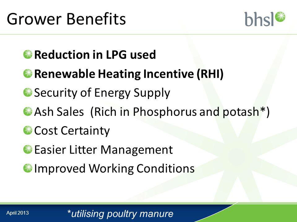 Grower Benefits Reduction in LPG used Renewable Heating Incentive (RHI) Security of Energy Supply Ash Sales (Rich in Phosphorus and potash*) Cost Certainty Easier Litter Management Improved Working Conditions April 2013 *utilising poultry manure