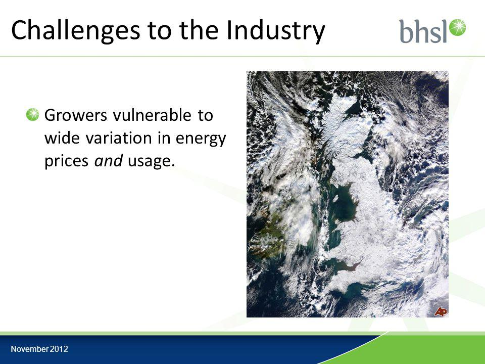 Challenges to the Industry Growers vulnerable to wide variation in energy prices and usage.