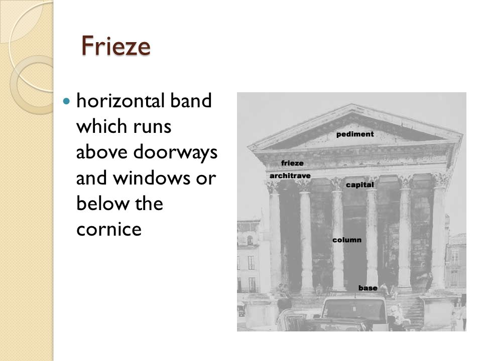 Frieze horizontal band which runs above doorways and windows or below the cornice