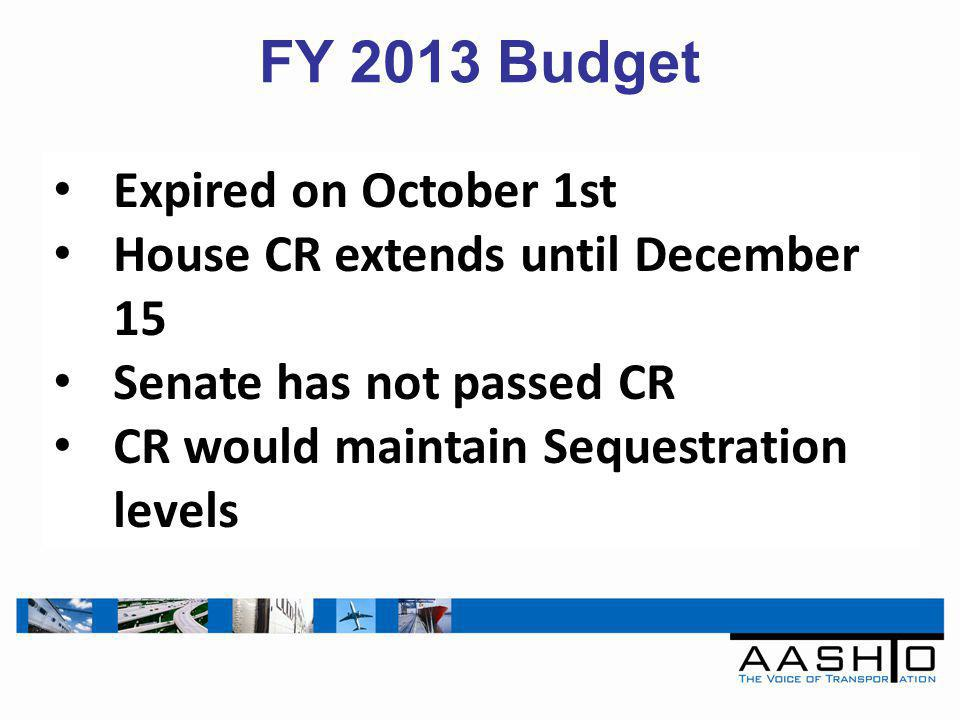FY 2013 Budget Expired on October 1st House CR extends until December 15 Senate has not passed CR CR would maintain Sequestration levels