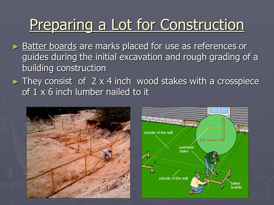 Batter boards are marks placed for use as references or guides during the initial excavation and rough grading of a building construction Batter board