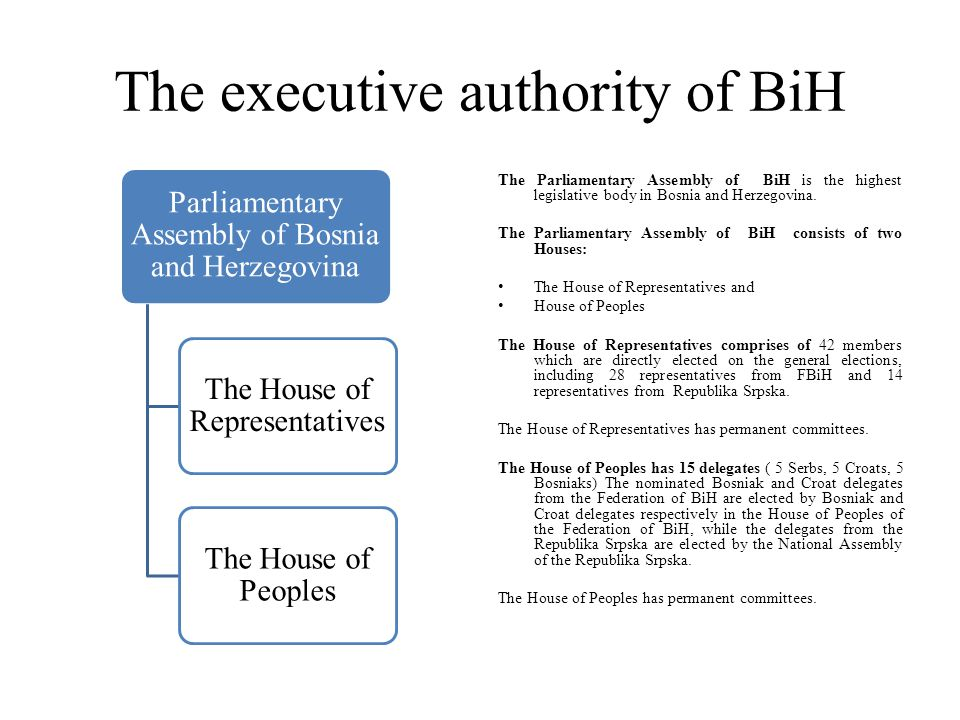 The executive authority of BiH Parliamentary Assembly of Bosnia and Herzegovina The House of Representatives The House of Peoples The Parliamentary As
