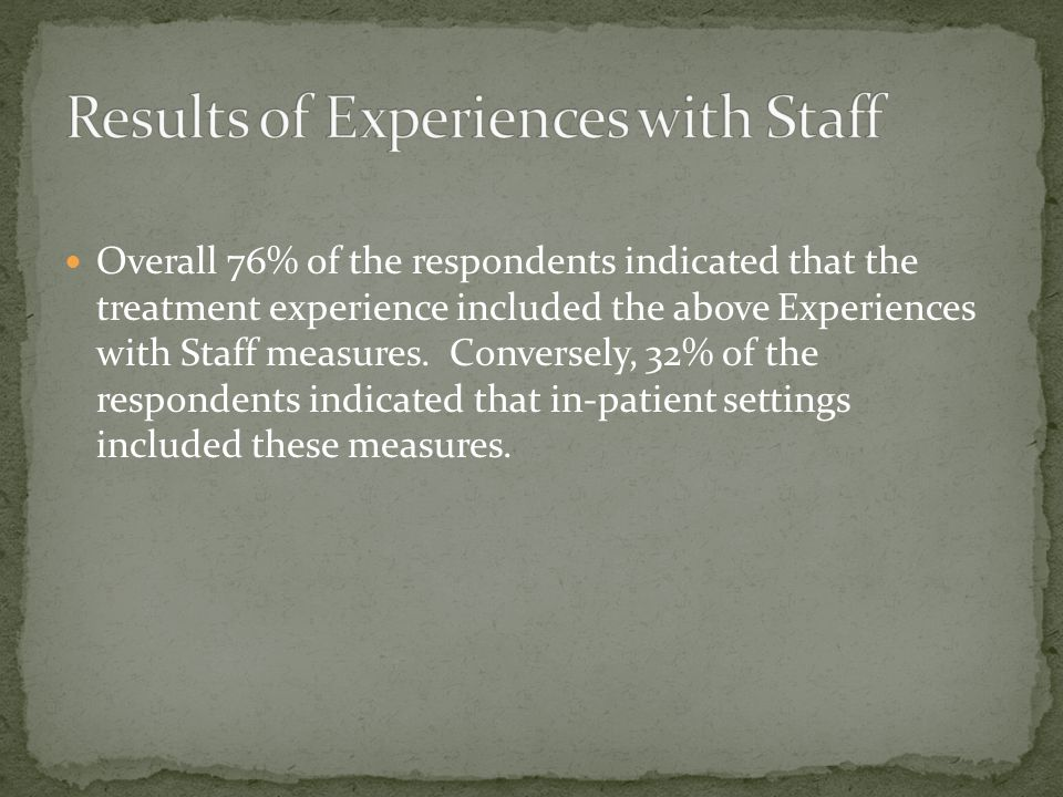 Overall 76% of the respondents indicated that the treatment experience included the above Experiences with Staff measures. Conversely, 32% of the resp