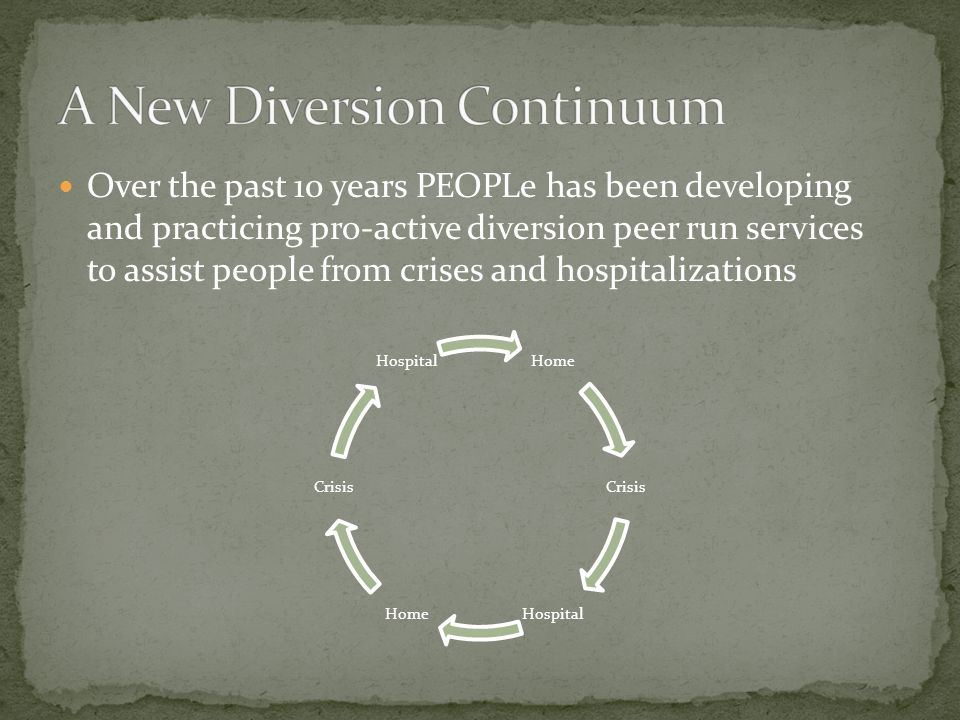 Over the past 10 years PEOPLe has been developing and practicing pro-active diversion peer run services to assist people from crises and hospitalizati