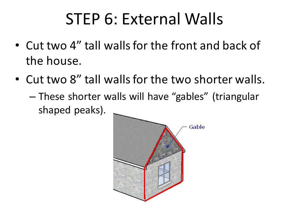 STEP 6: External Walls Cut two 4 tall walls for the front and back of the house.