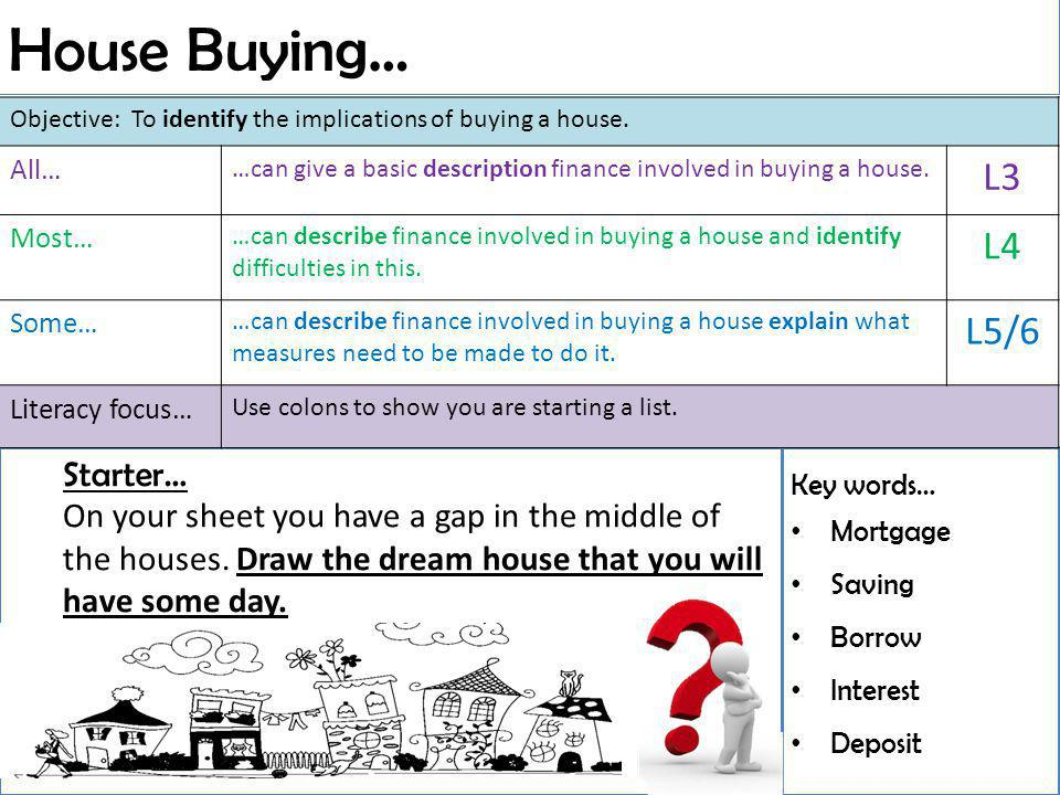 House Buying… Key words… Mortgage Saving Borrow Interest Deposit Starter… On your sheet you have a gap in the middle of the houses.