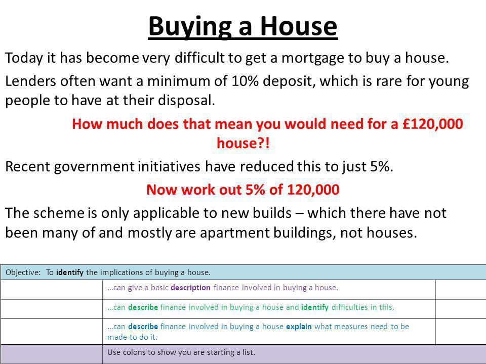 Buying a House Today it has become very difficult to get a mortgage to buy a house. Lenders often want a minimum of 10% deposit, which is rare for you