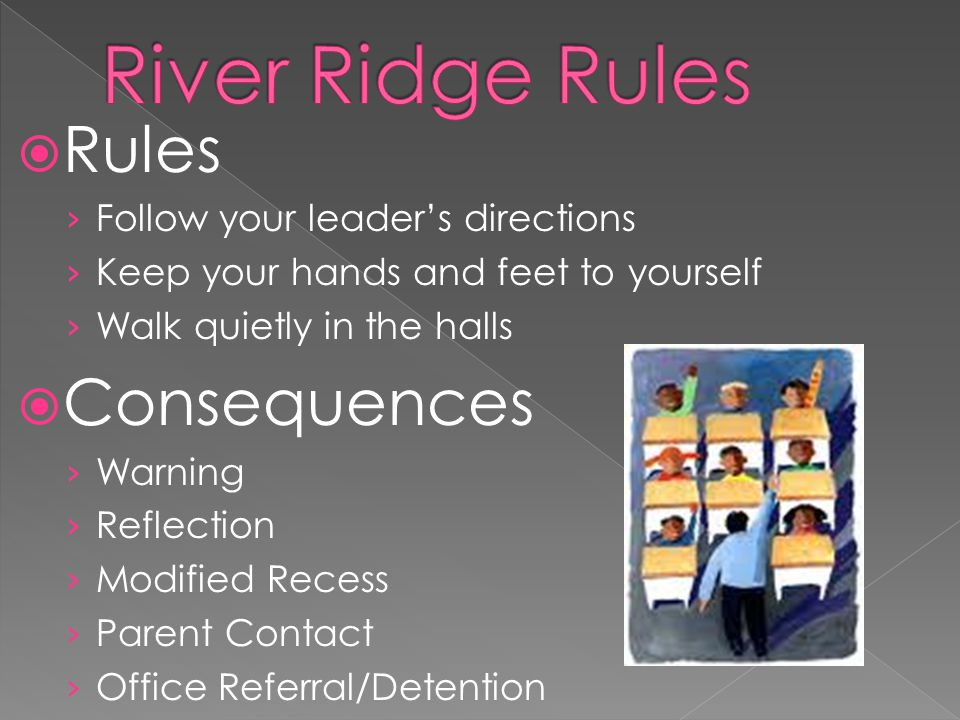 Rules Follow your leaders directions Keep your hands and feet to yourself Walk quietly in the halls Consequences Warning Reflection Modified Recess Parent Contact Office Referral/Detention