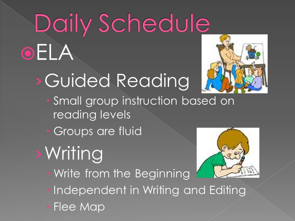 ELA Guided Reading Small group instruction based on reading levels Groups are fluid Writing Write from the Beginning Independent in Writing and Editing Flee Map
