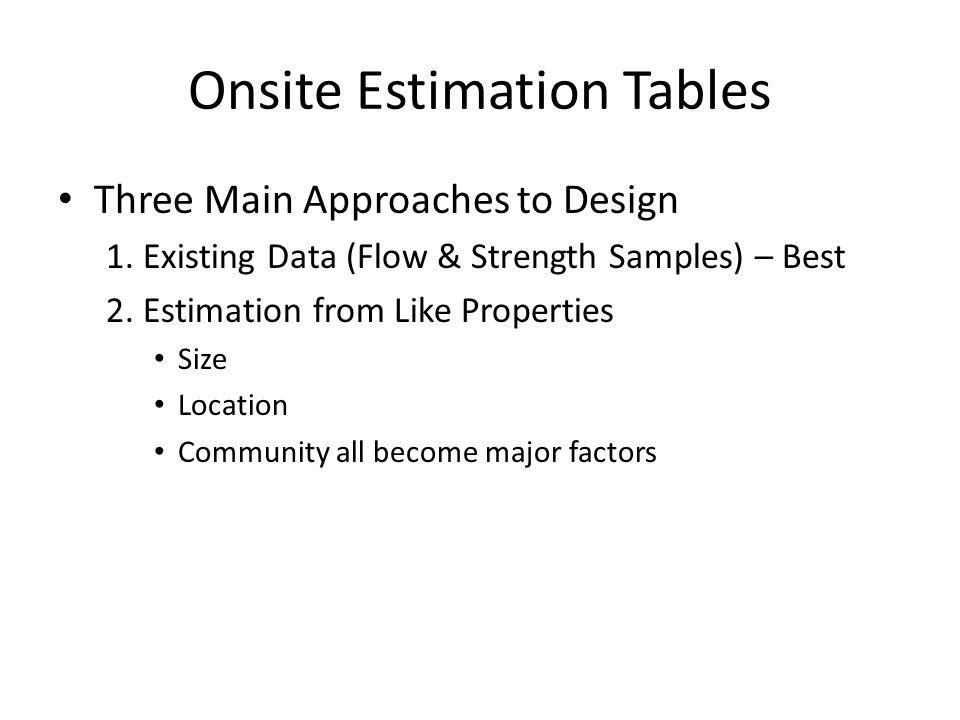 Onsite Estimation Tables Three Main Approaches to Design 1.